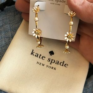 NWT Kate Spade flower hoop earrings